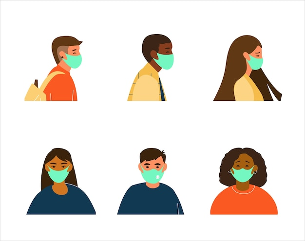 Płaski zestaw ludzi różnych grup etnicznych awatary w ochronne maski na twarz.