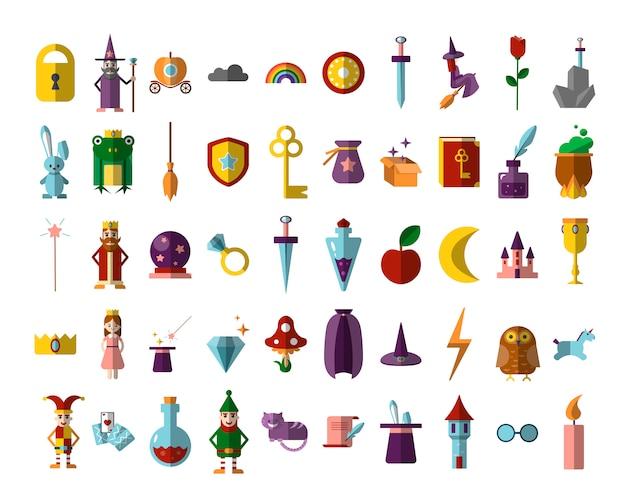 Płaski zestaw magicznych przedmiotów halloweenowych, iluzjonistycznych, baśniowych.