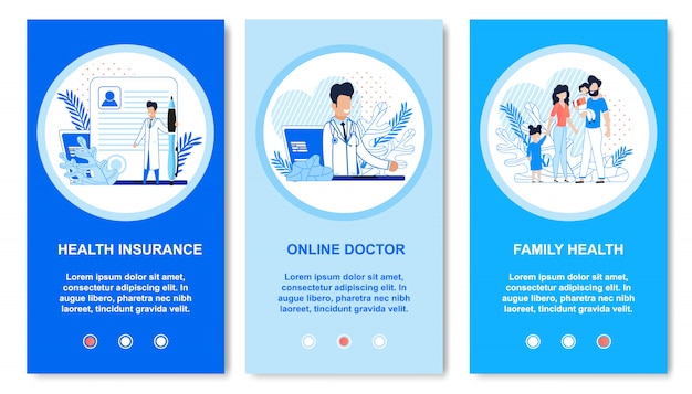 Płaski zestaw medyczny dla stron docelowych aplikacji mobilnych