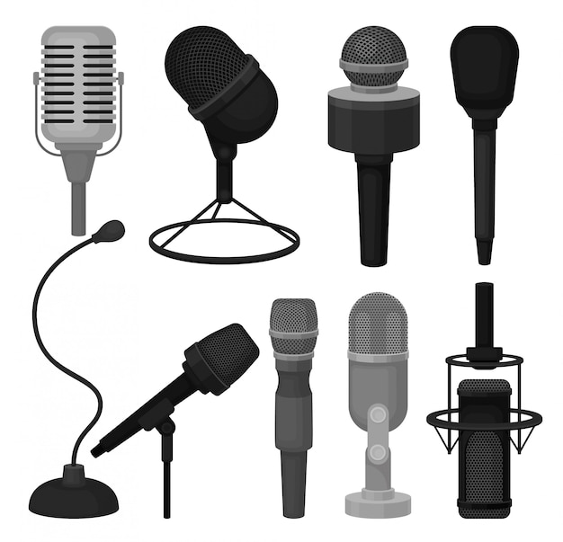 Płaski zestaw mikrofonów. profesjonalne mikrofony dynamiczne i pojemnościowe. sprzęt do nagrywania głosu
