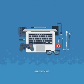 Płaski zestaw narzędzi geek