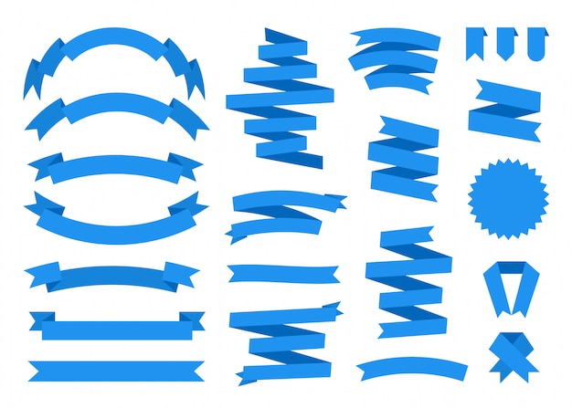 Płaski zestaw niebieskiej wstążki. szablon wstążki proste pusty inny kształt.