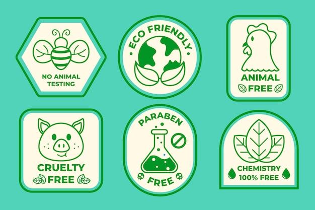 Płaski zestaw odznak cruelty free