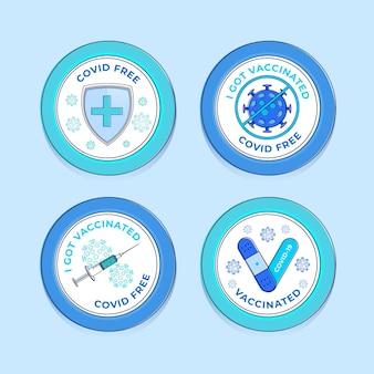 Płaski zestaw odznak kampanii szczepień