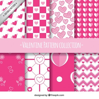 Płaski zestaw ośmiu białych i różowych wzorów na walentynki