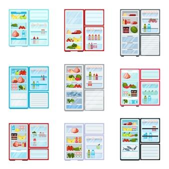 Płaski zestaw otwartych lodówek wypełnionych produktami. świeże owoce i warzywa, mięso i nabiał. magazyn żywności