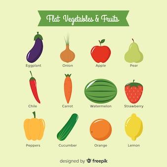Płaski zestaw owoców i warzyw