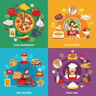 Płaski zestaw pizzerii