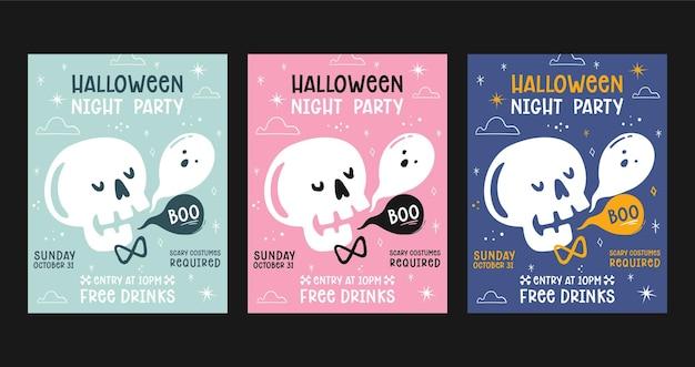 Płaski zestaw plakatów na imprezę halloween