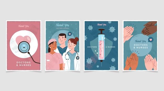 Płaski zestaw pocztówek dziękuję lekarzom i pielęgniarkom