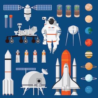 Płaski zestaw podróży kosmicznych na białym tle