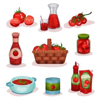 Płaski zestaw pomidorowych potraw i napojów. świeże warzywa, sok w szkle, pyszna zupa w rondlu, keczup, produkty w puszkach