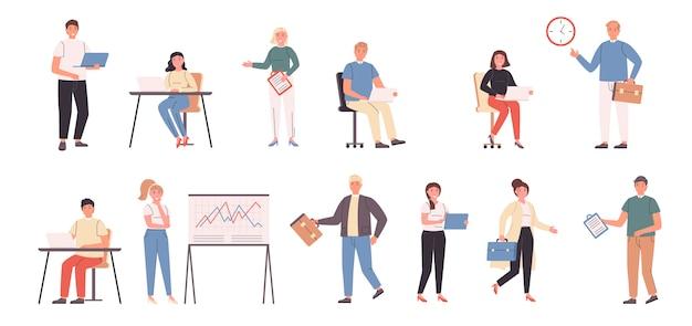 Płaski zestaw pracowników firmy, biznesmenów i kobiet