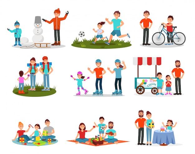 Płaski zestaw rodziców z dziećmi w różnych działaniach. rodzinny wypoczynek. aktywny wypoczynek na świeżym powietrzu.