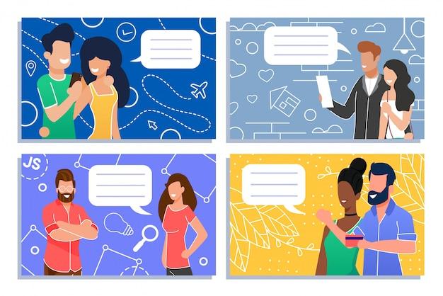 Płaski zestaw rozmawiających społeczności mężczyzn i kobiet