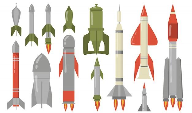 Płaski zestaw różnych pocisków balistycznych