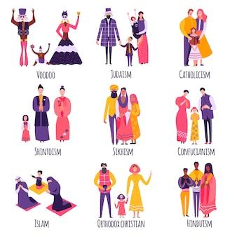 Płaski zestaw różnych rodzin religijnych