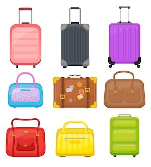 Płaski zestaw różnych toreb podróżnych. walizki na kółkach, eleganckie damskie torebki i etui retro z naklejkami