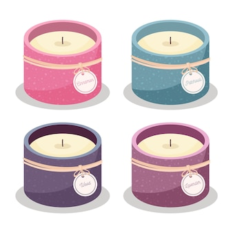 Płaski zestaw świec zapachowych