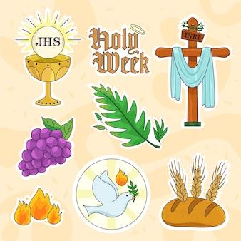 Płaski zestaw świętego tygodnia z izolowanymi elementami