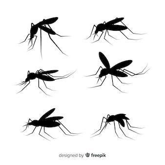 Płaski zestaw sylwetki komarów