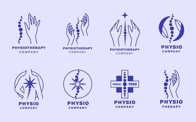 Płaski zestaw szablonów logo fizjoterapii