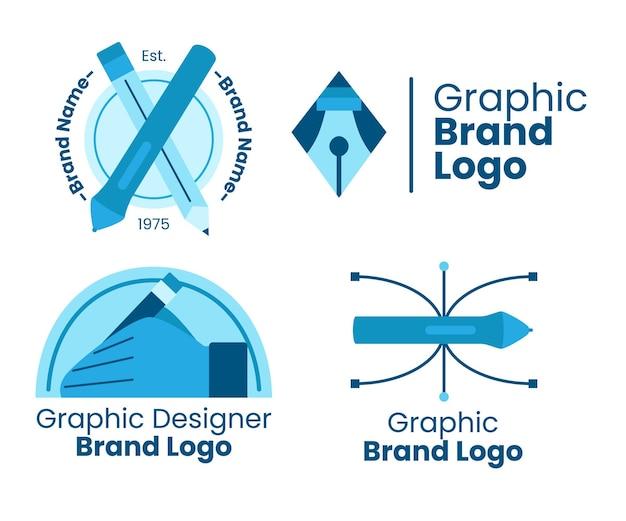 Płaski zestaw szablonów logo projektanta graficznego