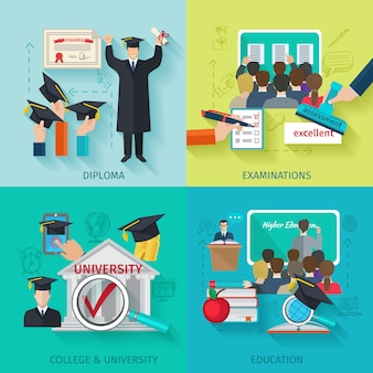 Płaski zestaw szkolnictwa wyższego