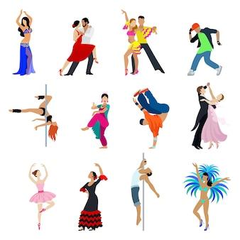 Płaski zestaw taniec tancerz ludzi. kolekcja ludzi młodych męskich żeńskich sztuki