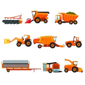 Płaski zestaw transportów rolniczych. maszyny rolnicze przemysłowy pojazd rolniczy. ciągnikowa prasa do siana, ciężarówka, kombajn zbożowy, przyczepa, siewnik, sprzęt do orki