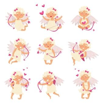 Płaski zestaw uroczego amorka w różnych działaniach. anioł miłości. kreskówki mała dziewczynka ze skrzydłami, łękiem i strzała