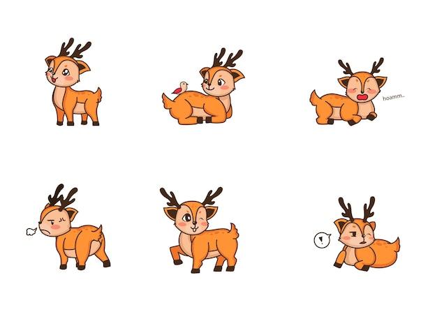 Płaski zestaw uroczego jelonka w różnych akcjach. postać z kreskówki małego jelenia. urocze zwierzę leśne na przezroczystym