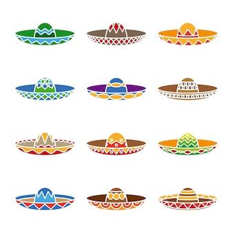 Płaski zestaw w kolorze meksykańskiego sombrero. impreza fiesta, symbol latino, tradycyjny kapelusz.
