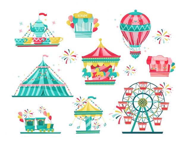 Płaski zestaw wyposażenia parku rozrywki. karuzele karnawałowe, stoisko z biletami i stoisko z lodami. motyw rozrywki