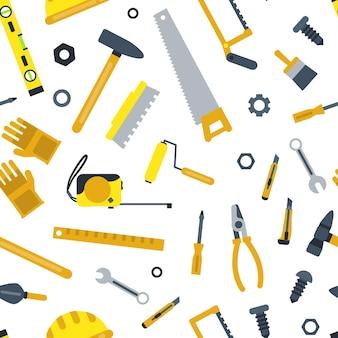 Płaski zestaw wzór narzędzia budowlane na białym tle ilustracji