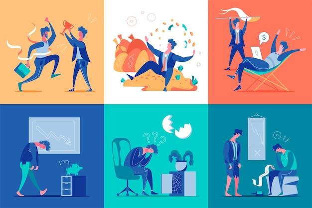 Płaski zestaw z biznesmenem i ilustracją różnych emocji