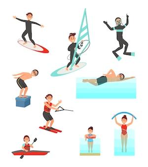 Płaski zestaw z młodymi ludźmi uprawiającymi różne sporty wodne. letni wypoczynek. aktywny styl życia