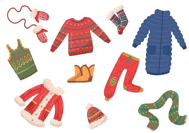 Płaski zestaw zimowych ubrań i akcesoriów. puchowe kurtki, spodnie i sweter, rękawiczki, szalik i czapka, buty i skarpetki