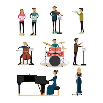 Płaski zestaw znaków ludzi orkiestry symfonicznej