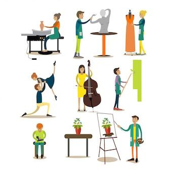 Płaski zestaw znaków ludzi zawodu artystycznego