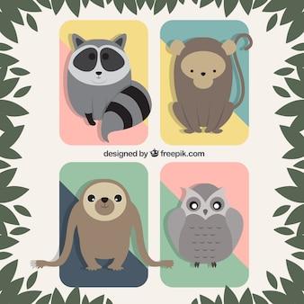 Płaski zestaw zwierząt