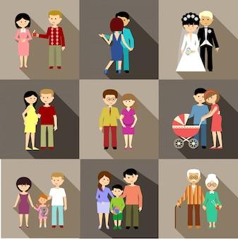 Płaski zestaw życia rodzinnego