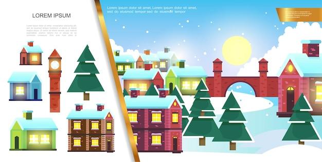 Płaski zimowy krajobraz miasta z ilustracją kolorowych domów