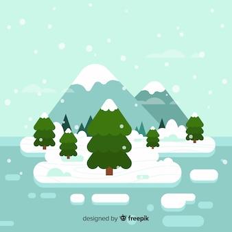 Płaski zimowy krajobraz tło