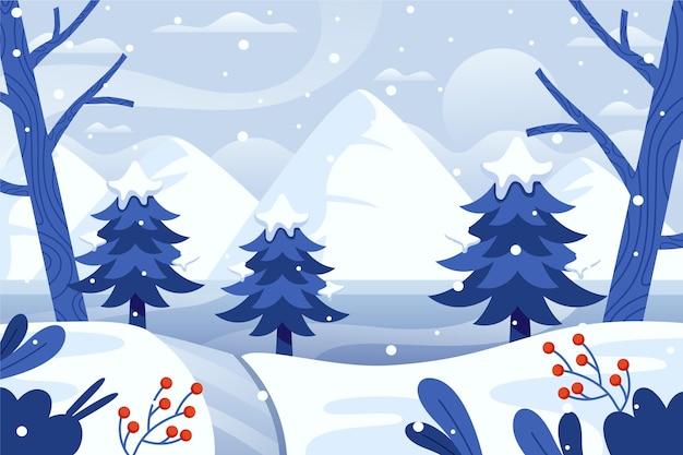 Płaski zimowy krajobraz z drzewami