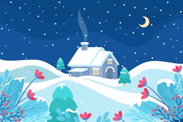 Płaski zimowy krajobraz