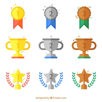Płaski złote i srebrne nagrody kolekcji