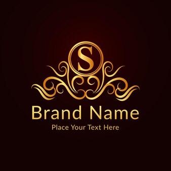 Płaski złoty elegancki ozdobny szablon logo s list