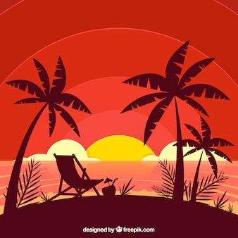 Płaski zmierzchu tło z drzewkami palmowymi