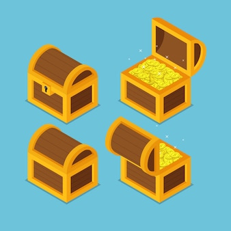 Płaskie 3d izometryczne otwarte i zamknięte drewniane skrzynie skarbów.